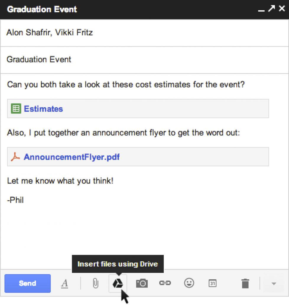 Gmail: allegare file presenti in Google Drive
